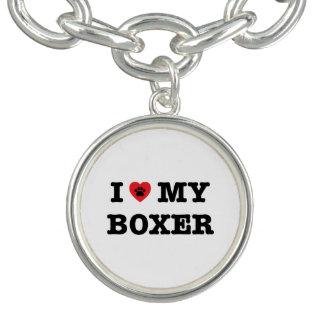 Iハート私のボクサーのチャームブレスレット ブレスレット