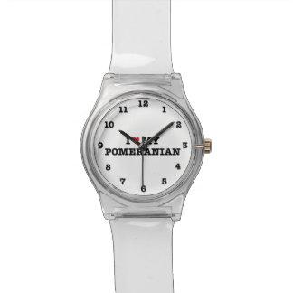 Iハート私のポメラニア犬 腕時計