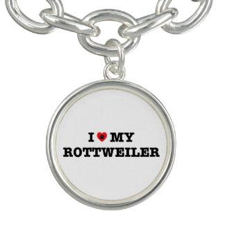 Iハート私のロットワイラーのチャームブレスレット チャームブレスレット
