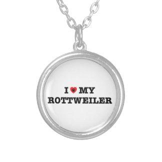 Iハート私のロットワイラーのネックレス シルバープレートネックレス