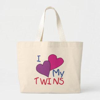 Iハート私の双生児 ラージトートバッグ