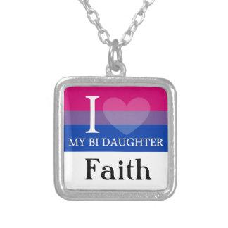 Iハート私のBiの娘 シルバープレートネックレス