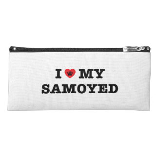 Iハート私のSamoyedの筆箱 ペンシルケース