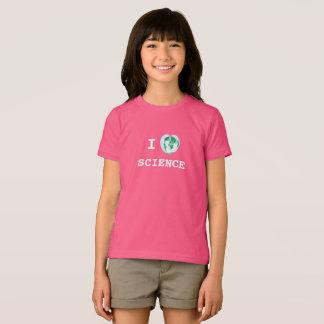 Iハート科学の女の子のTシャツの世界地図の水彩画 Tシャツ