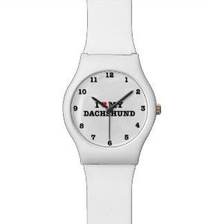 Iハート腕時計と番号が付いている私のダックスフント 腕時計