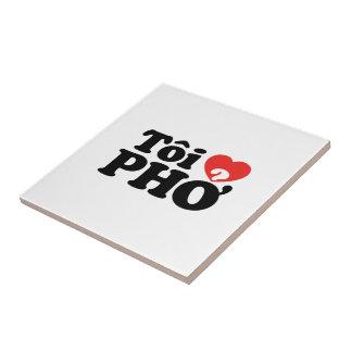 Iハート(愛)のPho (Tôiの❤ PHỞ)のベトナム語の言語 正方形タイル小