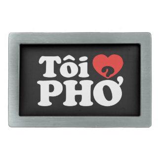 Iハート(愛)のPho (Tôiの❤ PHỞ)のベトナム語の言語 長方形ベルトバックル