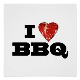 IハートBBQのおもしろいなビーフステーキのグリル ポスター