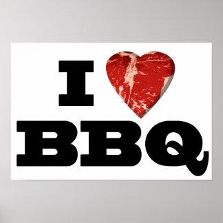 IハートBBQのステーキのハートの形のおもしろいな焼くこと ポスター