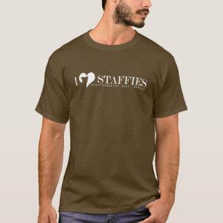IハートStaffies -品種名前の白いロゴ Tシャツ
