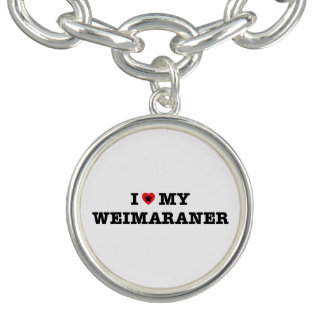 IハートWeimaranerの私のチャームブレスレット チャームブレスレット