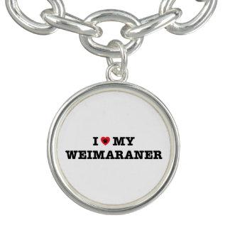 IハートWeimaranerの私のチャームブレスレット チャームブレス