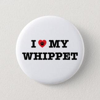 IハートWhippet私のボタン 5.7cm 丸型バッジ
