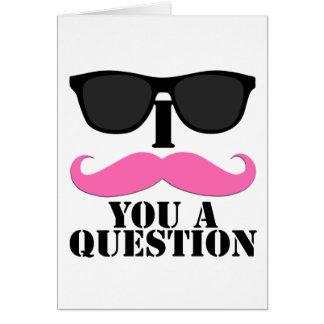 I口ひげサングラスとの質問ピンク カード