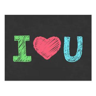 I愛U単語の黒板 ポストカード