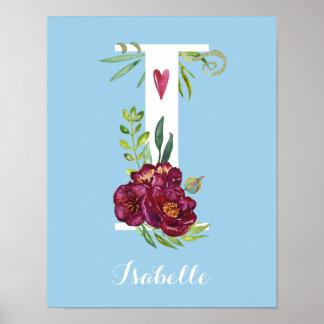 I水彩画の花のモノグラムのカスタムな子供部屋ポスター ポスター
