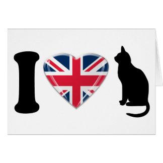 I英国国旗のハートのデザインのハート猫 カード
