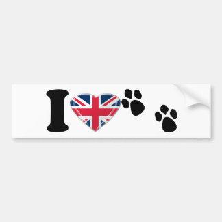I英国国旗のハートのハートの足のプリント バンパーステッカー