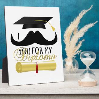 I髭卒業の帽子が付いている私の免状のための フォトプラーク