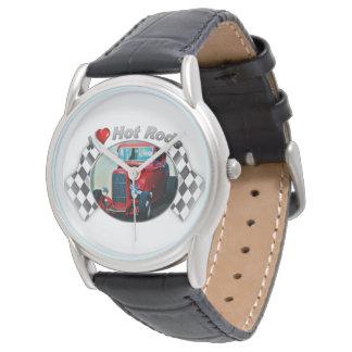 I黒い革バンドが付いているハートのホットロッドの腕時計 腕時計
