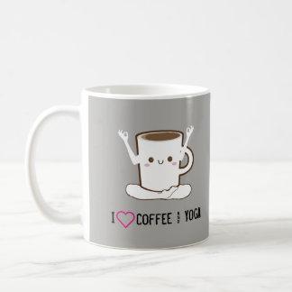 I ❤のコーヒーおよびヨガ コーヒーマグカップ