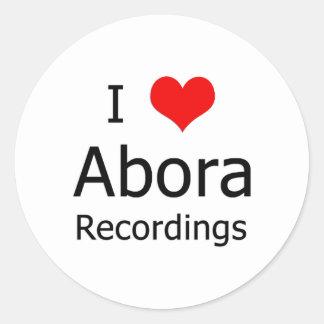 I ♥のAboraの録音の円形のステッカー(6大きい白) ラウンドシール