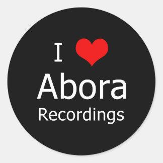 I ♥のAboraの録音の円形のステッカー(6大きい黒) ラウンドシール