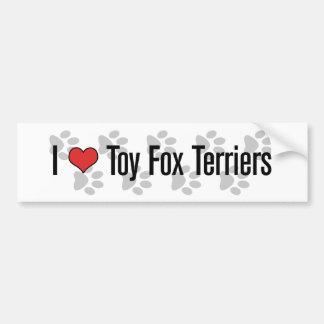 I (ハートの)おもちゃのフォックステリア犬 バンパーステッカー