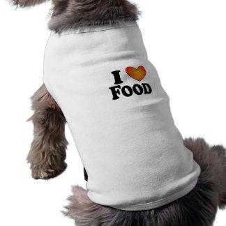 I (ハートの)食糧-犬のTシャツ ペット服