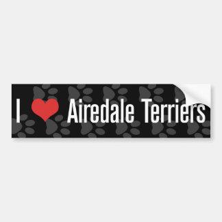 I (ハートの) Airedaleテリア バンパーステッカー