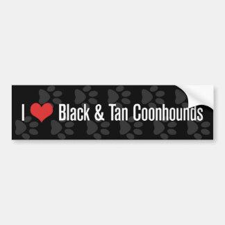 I (ハートの) Coonhounds (黒及びタン) バンパーステッカー