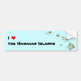 I (ハート)ハワイ諸島 バンパーステッカー