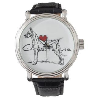 "I ""ハート""ユニークな線画との私のGreatdane 腕時計"