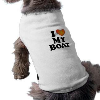 I (ハート)私のボート- Tシャツの後をつけて下さい ペット服