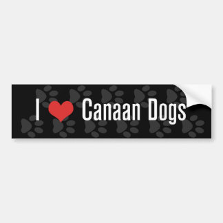 I (ハート) Canaan犬(暗い) バンパーステッカー