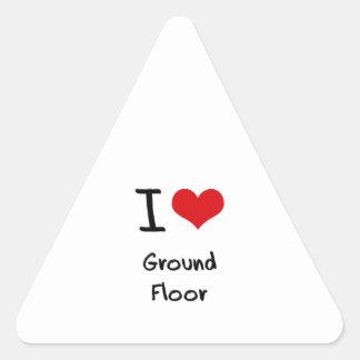 I|愛|地面|床 三角形シールステッカー