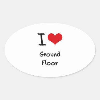 I|愛|地面|床 卵形シール・ステッカー