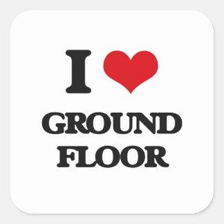 I|愛|地面|床 正方形シール・ステッカー