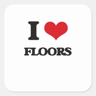 I|愛|床 正方形シールステッカー