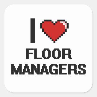 I|愛|床|マネージャー 正方形シール