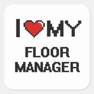 I|愛|私|床|マネージャー 正方形シール