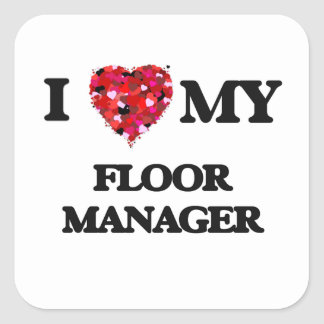 I|愛|私|床|マネージャー 正方形シール・ステッカー