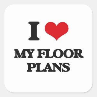 I|愛|私|床|計画 正方形シール・ステッカー