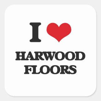 I 愛 Harwood 床 正方形シールステッカー