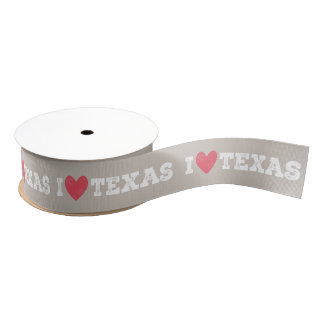 I Heart Texas Ribbon - White Letters グログランリボン