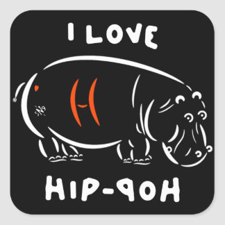 I love hip-hop (and hippos)! スクエアシール