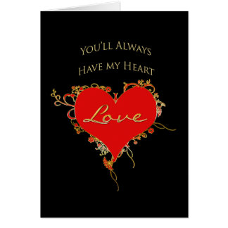 I LOVE YOU - Ornate Heart on Black - Gold Trim カード