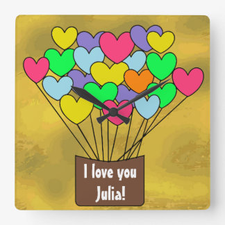 I love you Personalized Colorful Heart Balloons スクエア壁時計
