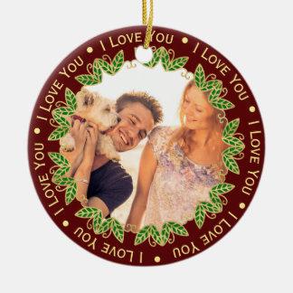 I Love You Personalized Photo & Monogram Christmas セラミックオーナメント