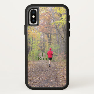 """I RUN"" RUNNER WEARING RED JACKET RUNNING IN WOODS iPhone X ケース"